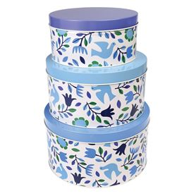 folk doves round tins (set of 3)