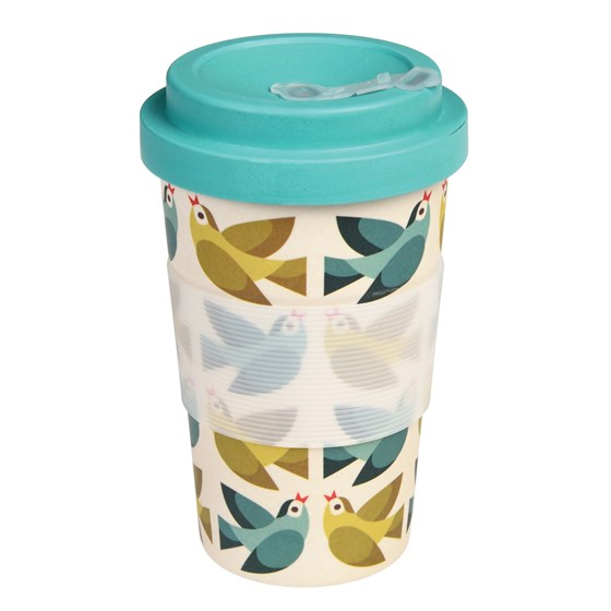 love birds bamboo travel mug and lid