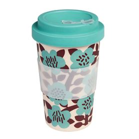 astrid flower bamboo travel mug and lid