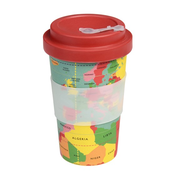 WORLD MAP BAMBOO TRAVEL MUG WITH LID
