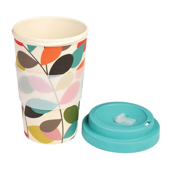 vintage ivy bamboo travel mug with lid