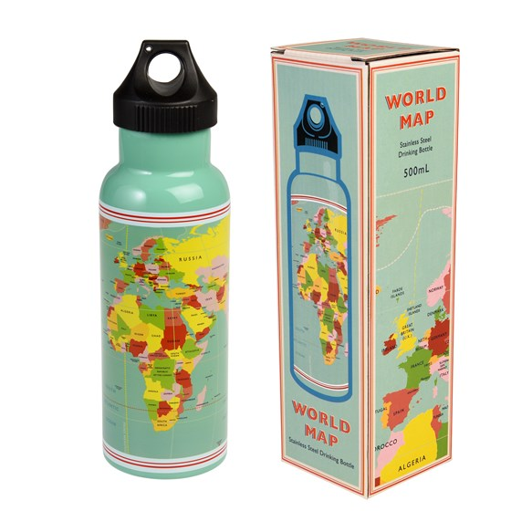 WORLD MAP STAINLESS STEEL BOTTLE