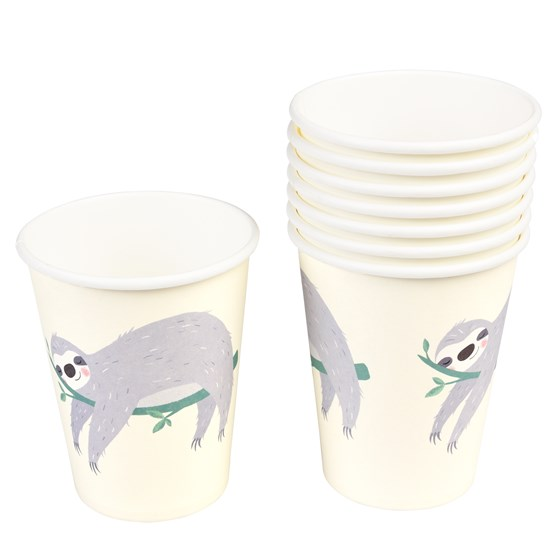 SYDNEY THE SLOTH PAPER CUPS (SET OF 8)