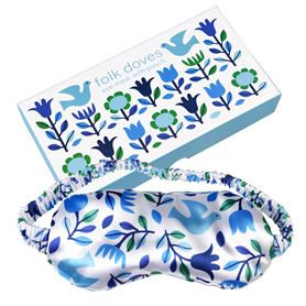 folk doves eye mask and pouch