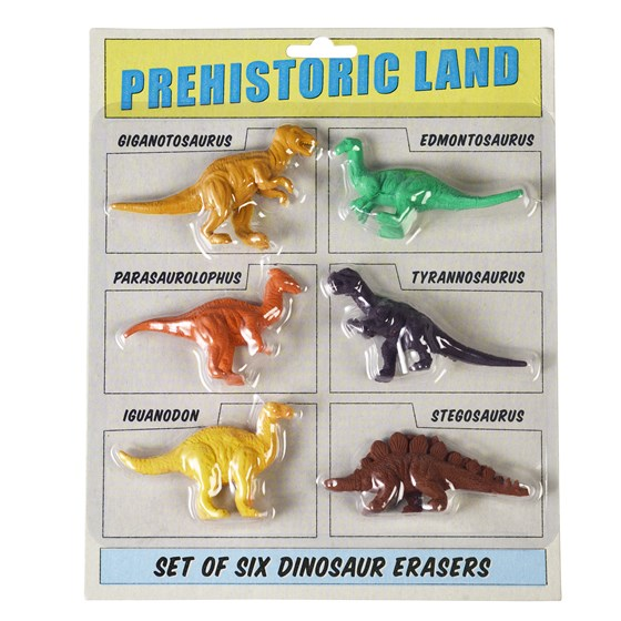 PREHISTORIC LAND ERASERS (SET OF 6)