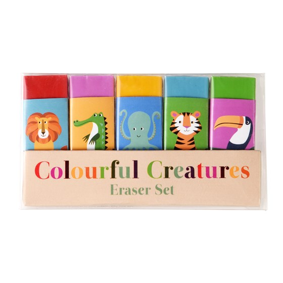 COLOURFUL CREATURES ERASERS (SET OF 5)
