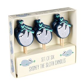 sydney the sloth party candles (set of 6)