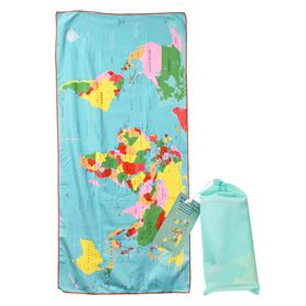 serviette en microfibre world map