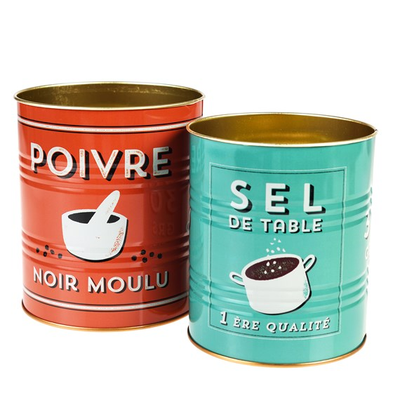 SALT AND PEPPER STORAGE TINS (SET OF 2)