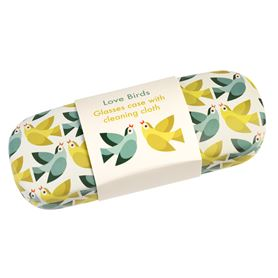 love birds glasses case & cleaning cloth