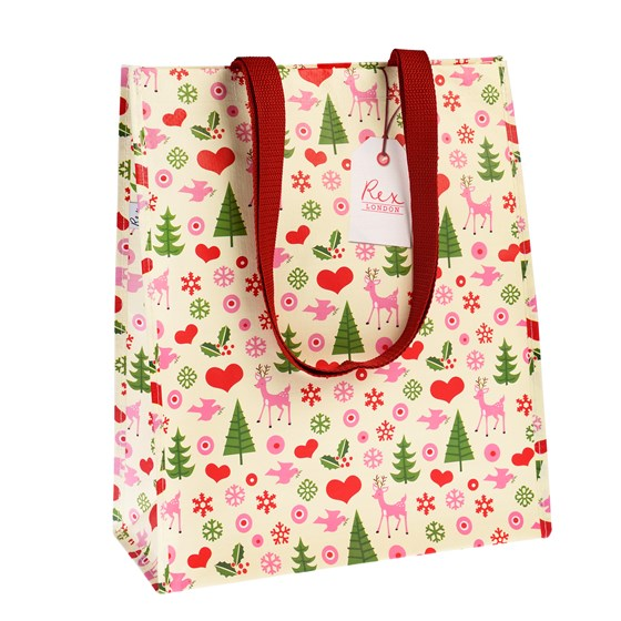 REX LONDON 50'S XMAS RECYCLED SHOPPING BAG