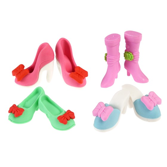 set of eight shoe erasers