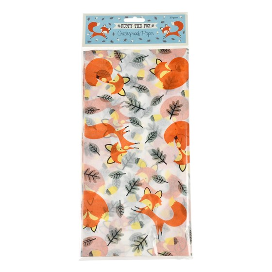 RUSTY THE FOX GREASEPROOF PAPER PACK OF 30
