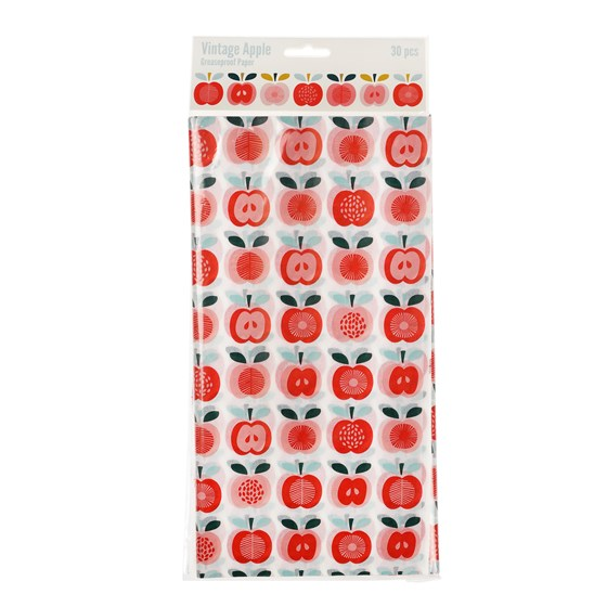 VINTAGE APPLE GREASEPROOF PAPER PACK OF 30