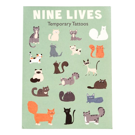 NINE LIVES TEMPORARY TATTOOS (2 SHEETS)