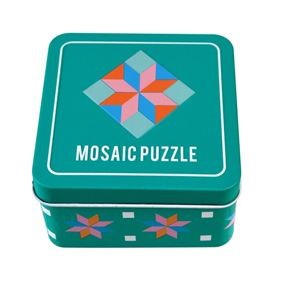 WOODEN MOSAIC PUZZLE IN A TIN
