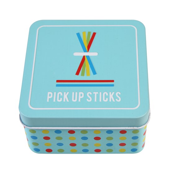 WOODEN PICK UP STICKS IN A TIN
