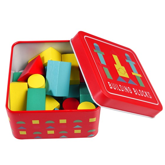 wooden building blocks in a tin