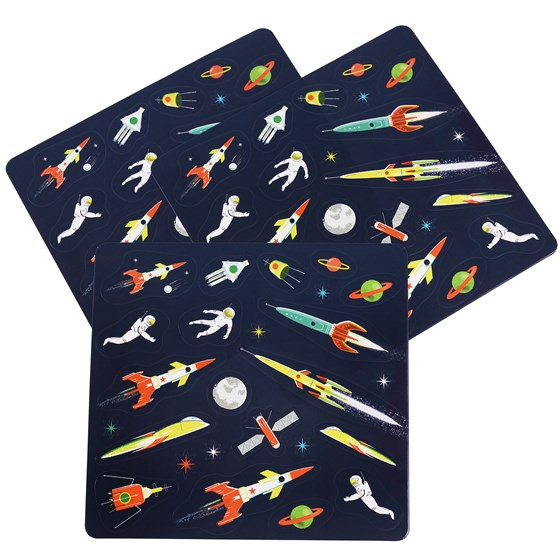 space age stickers 3 sheet set