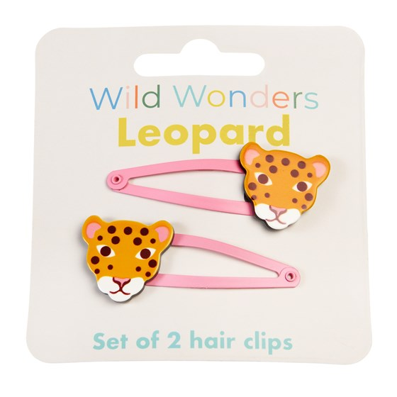 WILD WONDERS LEOPARD HAIR CLIPS (SET OF 2)